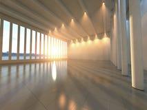 Empty modern hall. Empty huge modern hall space with lighting stock image