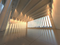 Empty modern hall. Empty huge modern hall space with lighting royalty free stock photography