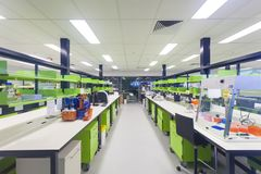 Empty modern medical research laboratory