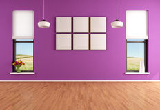 Empty modern purple room Royalty Free Stock Image
