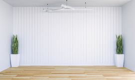 Empty modern room with white wall panel and decorative plants Stock Image