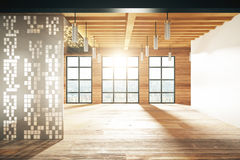 Empty modern room with windows in floor and wooden floor Royalty Free Stock Photos