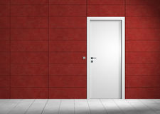 Empty modern rubin red room. Rendering of an an empty room with red wall and white door Royalty Free Stock Image