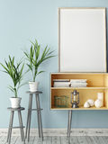Empty modern style frame, blue wall background Royalty Free Stock Photos