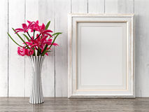 Empty modern style frame, 3D render. Empty modern style frame on composition wall as concept stock photo