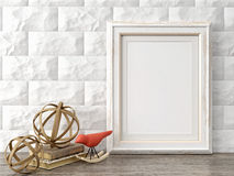 Empty modern style frame, 3D render Stock Photos