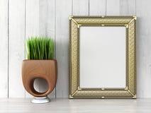 Empty modern style frame, 3D render Stock Image