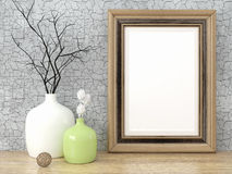Empty modern style frame, 3D render. Empty modern style frame on composition wall as concept Royalty Free Stock Image