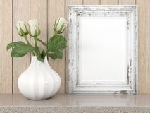 Empty modern style frame, 3D render. Empty modern style frame on composition wall as concept Royalty Free Stock Photos