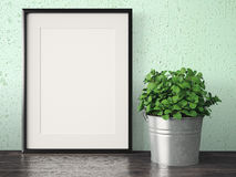 Empty modern style frame, 3D render Royalty Free Stock Photos