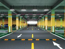 Empty modern underground parking 3d render royalty free illustration