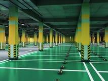 Empty modern underground parking 3d render. Empty modern under ground parking Royalty Free Stock Image