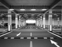 Empty modern underground parking 3d render. Empty modern underground parking 3d Stock Photography