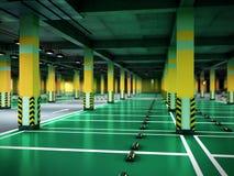 Empty modern underground parking 3d render. Empty modern underground parking 3d Royalty Free Stock Photo