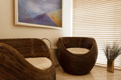 Empty modern waiting room at spa salon Royalty Free Stock Photo