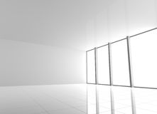 Empty Modern White Interior with Windows Royalty Free Stock Photo