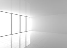 Empty Modern White Interior with Windows Royalty Free Stock Image