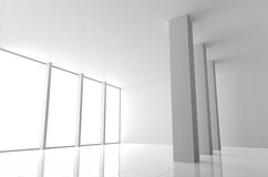 Empty Modern White Interior with Windows Stock Image