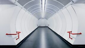 Empty modern white subway tunnel Royalty Free Stock Image
