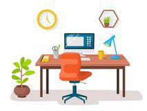 Empty modern workplace office interior. Vector image Royalty Free Stock Photo