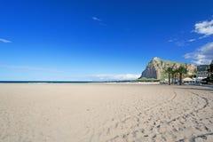 Empty Mondello beach. Mondello beach at Palermo Sicily Italy Stock Photos