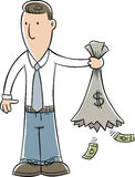Empty Money Sack. A cartoon businessman holds a sack of money that has opened and emptied Stock Photography