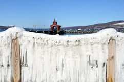 Empty mooring slips on Seneca Lake harbor during late winter. Showing the Seneca Lake dock after winter storm Stella. One of the Finger Lakes of New York State stock photography