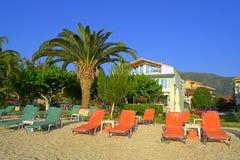 Empty morning beach,Lefkada island,Greece Stock Photos