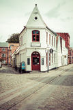 Empty morning street with old houses from royal town Ribe in Den Stock Images
