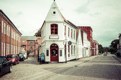 Empty morning street with old houses from royal town Ribe in Den Royalty Free Stock Images