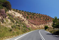Empty Motor-road on Crete Island Stock Photo