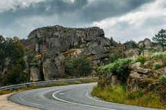Empty mountanous road near the historic castle town of Sortelha in northeastern Portugal.  royalty free stock photos