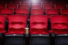 Empty movie theater. With red seats Stock Images