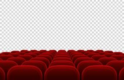 Empty movie theater auditorium with red seats. Cinema hall interior  vector illustration Stock Photos