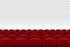 Empty movie theater auditorium with red seats. Rows of red cinema movie theater seats on transparent background, vector. Illustration EPS 10 Royalty Free Stock Photos