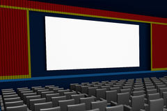 Empty movie theater blank screen side view. Empty cinema or movie theater with customizable blank screen. 3d render, 3d illustration Stock Photo