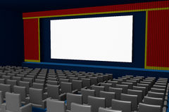 Empty movie theater blank screen side view. Empty cinema or movie theater with customizable blank screen. 3d render, 3d illustration Stock Images