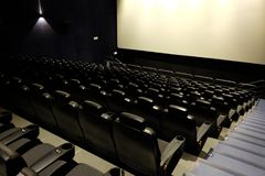 Empty movie theater. Modern architecture Stock Photos