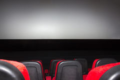 Empty movie theater with red seats Stock Image