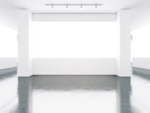 Empty museum gallery interior with concrete floor Stock Photos