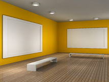 A empty museum room with frame for picture. A 3d illustration of a museum room with frame royalty free illustration