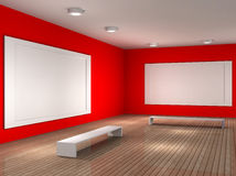 A empty museum room with frame for picture. A 3d illustration of a museum room with frame vector illustration