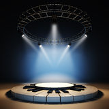 Empty music stage. A 3d illustration of blank template layout of empty jazz music stage. Stage illuminated by spotlights at blue background. Stage empty to