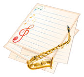 An empty musical paper with a saxophone Royalty Free Stock Images