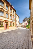 An empty narrow street in Vianden, Luxembourg Royalty Free Stock Photography