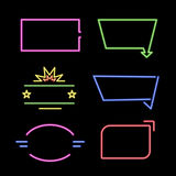 Empty neon signs. Set of bright neon frames. Vector illustration Stock Image