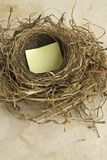 Empty nest. With a blank sign,add your own message Stock Photo