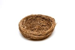Empty Nest. Empty bird's nest isolated on white background Royalty Free Stock Image