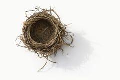 Empty nest. Empty bird nest on white background Royalty Free Stock Photo