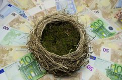 Empty nest egg. Empty nest egg laying on a bed of Euro money Royalty Free Stock Photo
